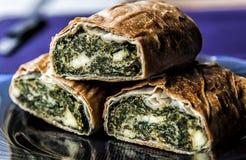 Strudel del formaggio e degli spinaci Fotografie Stock Libere da Diritti