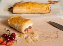 Strudel with Fruits and Cottage Cheese Royalty Free Stock Photography