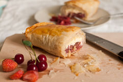Strudel with Fruits and Cottage Cheese Stock Image