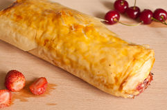 Strudel with Fruits and Cottage Cheese Stock Photography