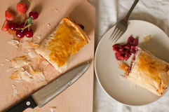 Strudel with Fruits and Cottage Cheese Stock Images