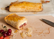 Strudel with Fruits and Cottage Cheese Royalty Free Stock Photos