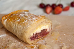 Strudel with Fruits and Cottage Cheese Royalty Free Stock Images