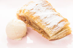 Strudel and ice cream Royalty Free Stock Photo