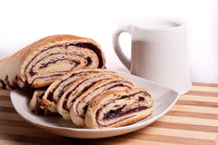 Strudel with milk Royalty Free Stock Photography