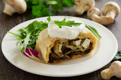 Strudel with mushrooms. And cheese Stock Photo
