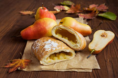 Strudel with a pear Stock Photography