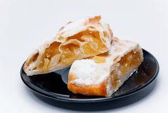 Strudel. With pineapple on the plate Stock Photo