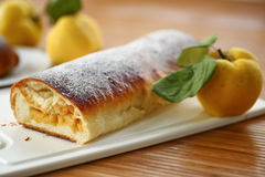 Strudel with quince Stock Photos