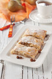 Strudel with raisins. And pear, selective focus Stock Photos