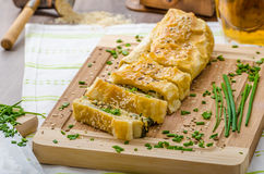 Strudel with spinach, blue cheese and garlic Royalty Free Stock Images