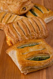 Strudel with spinach and cottage cheese Royalty Free Stock Images