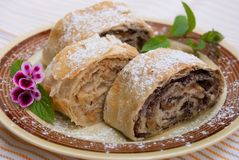 Strudel. Typical Austrian desert served on colored plate with some green decoration Royalty Free Stock Photography