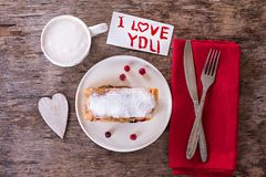 strudel and Valentine's Day decor stock photography