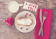 strudel and Valentine's Day decor royalty free stock photos