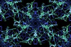 Strudel von Fractallinien auf schwarzem backround lizenzfreie abbildung