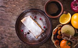 strudel and winter decor royalty free stock images