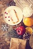 strudel and winter decor stock photo