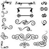 Strudelverzierungsteiler Handgezogene dekorative Elemente, alter Textbegrenzer, kalligraphische Strudelgrenzverzierungen und Wein vektor abbildung
