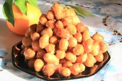 Struffoli, Italian pastries. Struffoli traditional sweetness of Southern Italy Stock Photos