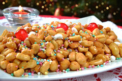 Struffoli neapolitan food Royalty Free Stock Images