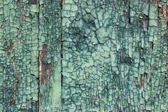 Strugać zieloną farbę na drewnie Obrazy Stock