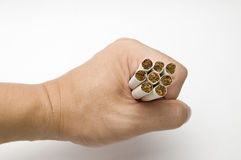 Struggle. The hand hold the cigarettes on the white background Stock Photo