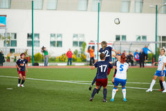 Struggle for ball during match between  teams CSP Izmailovo and Mordovochka Stock Photography