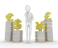 Struggle with foreign currency. Exchange rate fluctuations. People confused. Buying and selling foreign currency(Dollar/Yen/Euro/Pound). Coins were stacked high Stock Images