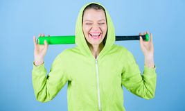 Struggle for justice. Street life. Sporty girl fighter. happy woman with bat. Sport equipment. Fighting with aggression. Woman workout with baseball bat royalty free stock image
