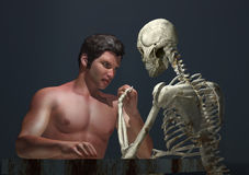 Struggle for life or death. Man and skeleton struggle for life or death Stock Photography