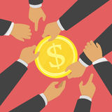 Struggle for money. Struggle for money vector illustration. Concept of Business competition marketing war. A few businessmen pull gold coin with for market Stock Images