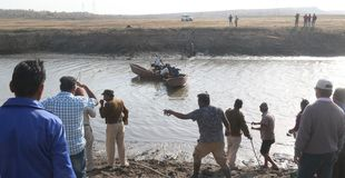 Crocodile rescue in Bhopal. After struggle of one week officials of Madhya Pradesh forest department got success in rescue a crocodile on thursday 07 february royalty free stock photography