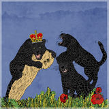 The struggle Panthers black, framed by flowers. Royalty Free Stock Image