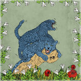 The struggle Panthers blue, framed by flowers. Royalty Free Stock Photography
