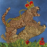 The struggle Panthers and crown, framed by flowers. Royalty Free Stock Images