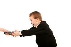 Struggle for remote control. Boy struggle for remote control isolated Stock Photography