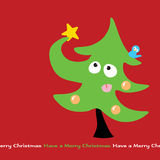 Struggling Christmas Tree. Illustration of a Christmas tree trying to place a star on his head Stock Images