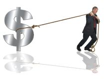 Struggling with the dollar. Businessman pulling along a silver dollar by a length of rope royalty free stock images
