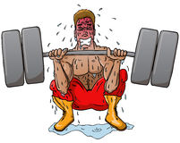 Struggling Power Lifter. Man straining to squat life heavy weights while sweating Stock Photo