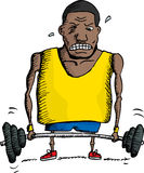 Struggling Weightlifter. African man struggling to lift barbell up Stock Photography