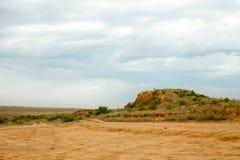 Struiken en bomen op een zandsteengroeve met een droge dag royalty-vrije stock fotografie