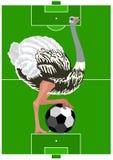 Struisvogel met een voetbalbal stock illustratie