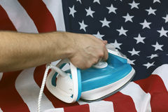 Struken skrynklig USA-flagga royaltyfri bild