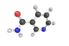 struktur 3d av Nicotinamide, också som är bekant som niacinamiden, en vitam Arkivfoto