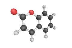 Struktur 3d des Cumarins, eine wohlriechende organische chemische Verbindung I Lizenzfreies Stockfoto