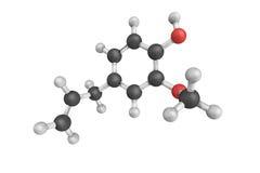 Struktur 3d des Eugenols, ein phenylpropene, ein Allylketteersatz stock abbildung