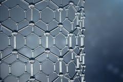Struktur der Wiedergabe 3D des Graphenrohrs, sechseckige geometrische Formnahaufnahme der abstrakten Nanotechnologie Graphen atom Lizenzfreie Stockfotografie