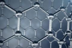 Struktur der Wiedergabe 3D des Graphenrohrs, sechseckige geometrische Formnahaufnahme der abstrakten Nanotechnologie Graphen atom Stockbilder