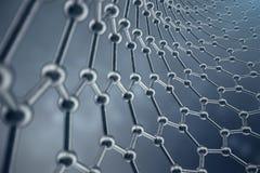 Struktur der Wiedergabe 3D des Graphenrohrs, sechseckige geometrische Formnahaufnahme der abstrakten Nanotechnologie Graphen atom Lizenzfreies Stockfoto